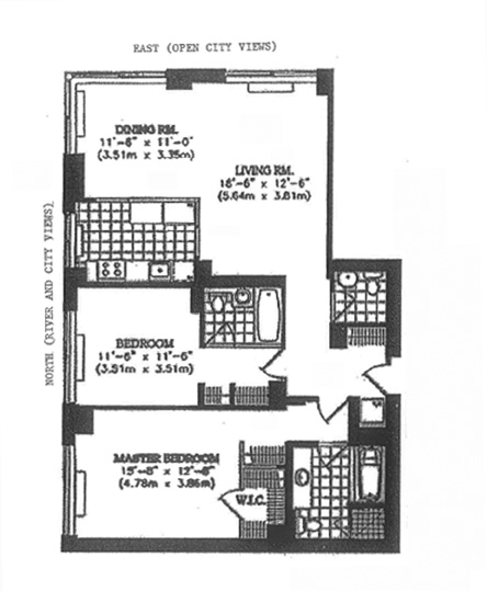 Floor plan of 200 Riverside Boulevard, 27D
