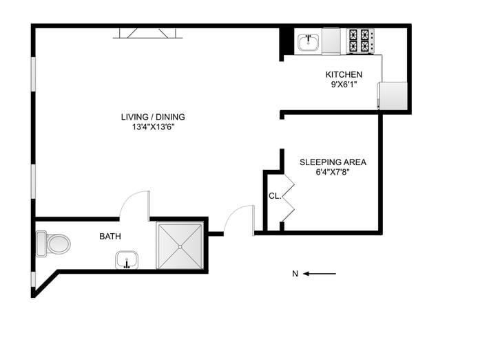 Floor plan of 340 West 11th St, 2EF - West Village - Meatpacking District, New York