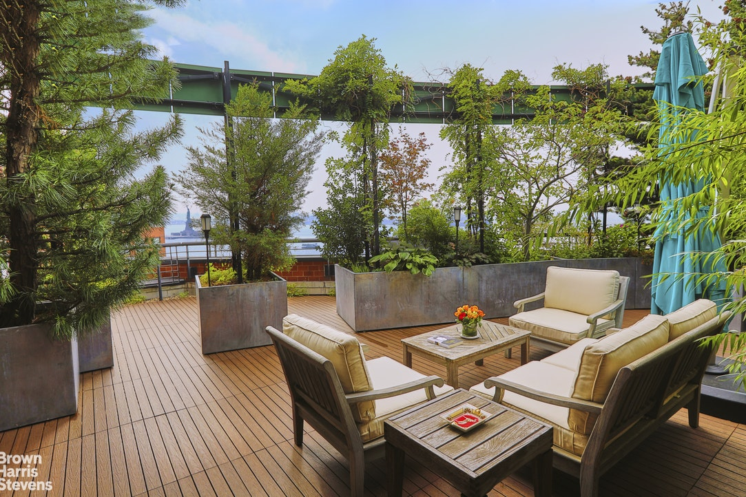 """INVESTMENT OPPORTUNITY with tenant in place.One-of-a-kind 3,180 square foot penthouse duplex with open water and skyline views from four private terraces.- Thirty-five-foot living / dining room with triple-exposure views - south, west and east.- Four professionally landscaped terraces, including one that faces the Statue of Liberty and spans approx. 750 square feet.- Large eat-in kitchen with Wolf, SubZero, and Gaggenau appliances.- Five bedrooms, four with double exposures; three have private terraces. Three and a half bathrooms are finished with Porcelanosa tiling and fixtures.- Four walk-in closets and three outdoor storage rooms.- Rooms are of grand proportions. Ceiling height is 9'7"""". Twenty-one windows face all points on a compass.Set directly on the Hudson River Esplanade, Liberty House, 377 Rector Place, is a 28-story, 238-unit condominium that offers front door access to the city's best running and cycling paths and unrivaled views of the harbor and Statue of Liberty. Full-time doorman and concierge, live-in resident manager and new lobby. Residents can enjoy The Terrace Club fitness center and indoor pool for an additional fee.Shown by appointment only, with 24 hours' notice."""