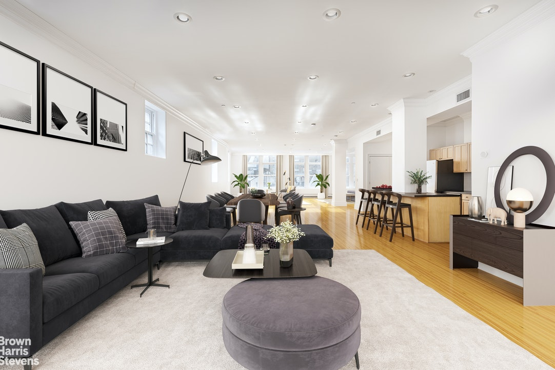 """At first bluff, this listing might remind you of the lofts in Tribeca or SoHo (maybe even Chelsea).but then you realize, those lofts are long and narrow with small exposures, whereas 54 Stone is much wider, with over 70 ft of windows. Besides lofts in Tribeca, Soho and Chelsea do not come at this price point As a matter of fact, with a ppsf of just under $1,000/sf and with monthlies of $0.61/sf this is the best priced home anywhere on the island south of 110th street. Walking onto Stone Street is like talking a giant step into history, after all this is exactly what the cobblestone streets of New Amsterdam must have looked like before the English took over it. 54 Stone Street, is in the middle of this time capsule. Surrounded by the hustle & bustle of the financial center of the world, it is never more than a few minutes from many well-known restaurants, the South Street Seaport, Fulton Street Market and World class shopping. Yet only a """"(cobble) stone's throw"""" from riverfront parks in every direction. However, if you do need to leave the area, it is good to know the 1, 2, 3, 4, 5, R, J, Z, W, subway lines are all very close. And if your destination is off the island, it is only a short distance to multiple ferry terminals, the downtown helipad, the Battery Park tunnel and the Brooklyn Bridge. Aside from the location. the roughly 2800sf space itself also has unique characteristics that can only be found in building built in a different era, gone are the cookie-cutter layouts with perfectly measured rooms that never quite give you enough room. This place is grand in every way."""