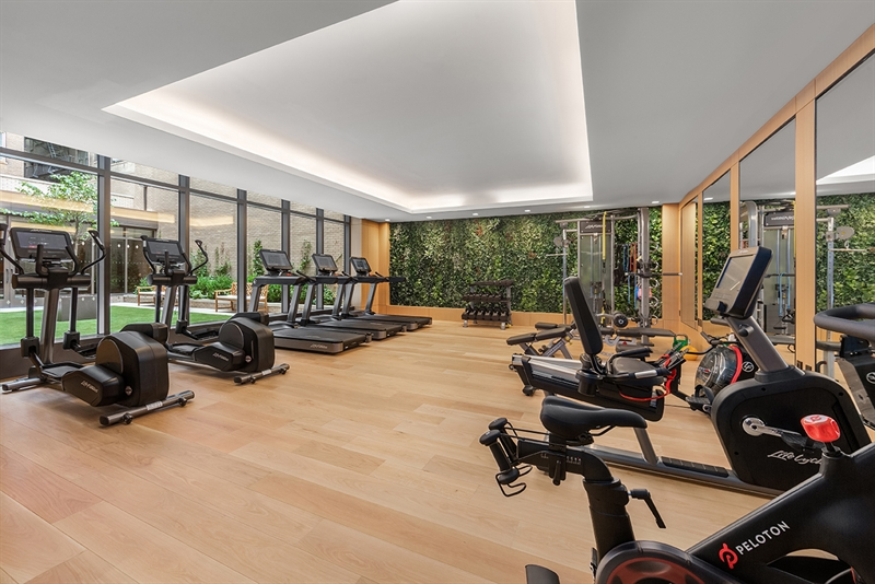 State-of-the-art windowed Fitness Center with a green living wall.