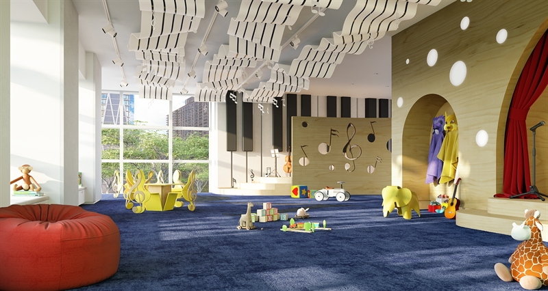 Lincoln Center inspired Little Composers children's playroom infused with musical motifs to inspire future artists.