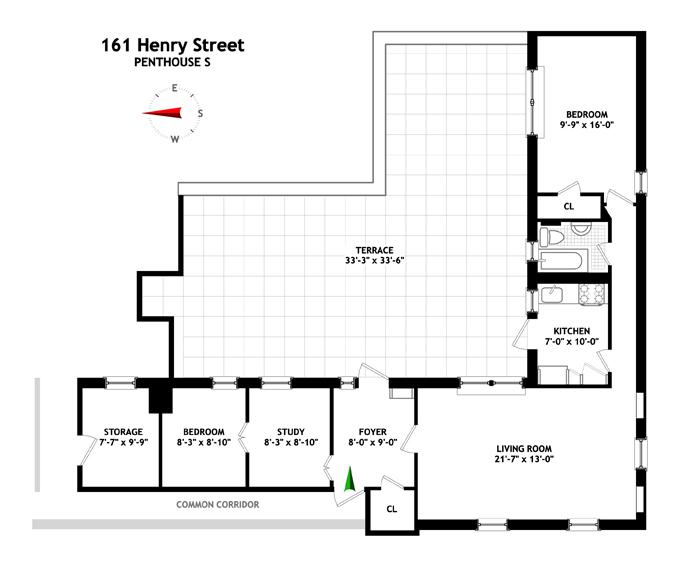 Delightful Penthouse With Terrace, Brooklyn, New York, $1,170,000, Web #: 9252111