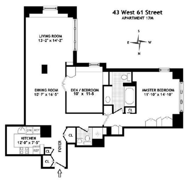 43 West 61st Street, Upper West Side, NYC, $1,210,000, Web #: 1022676