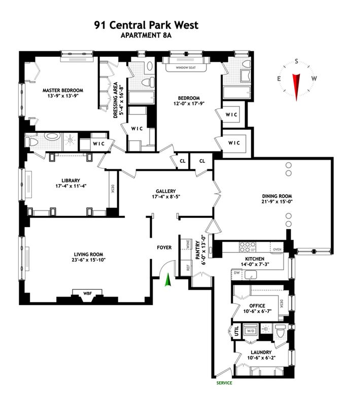 91 Central Park West, Upper West Side, NYC, $7,500,000, Web #: 14235017