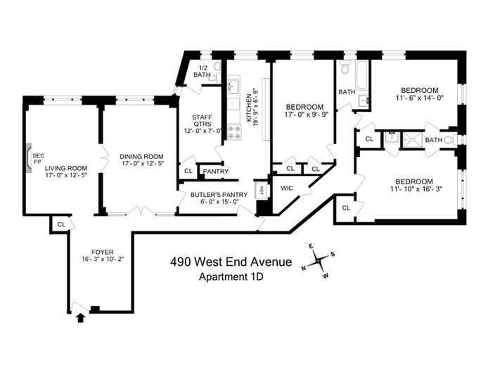 490 West End Avenue 1D, Upper West Side, NYC, $2,600,000, Web #: 14436809