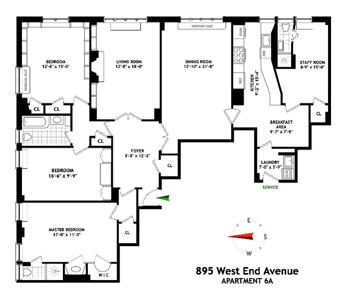 895 West End Avenue, Upper West Side, NYC, $2,620,000, Web #: 14459702