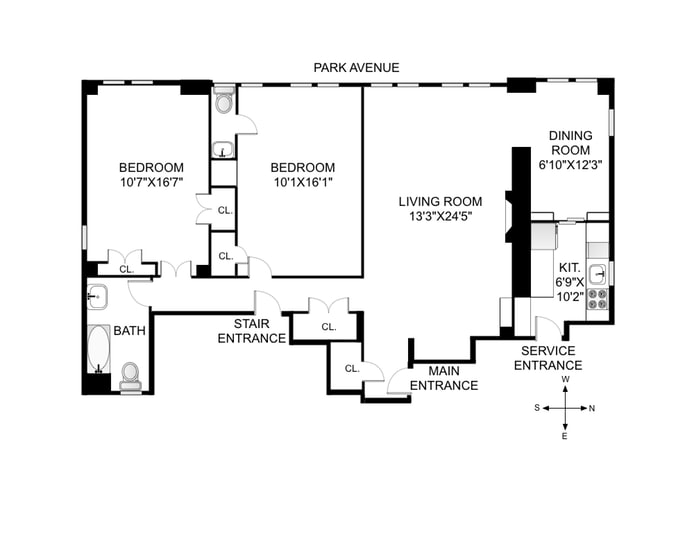 55 Park Avenue 14W, Midtown East, NYC, $1,095,000, Web #: 14604475