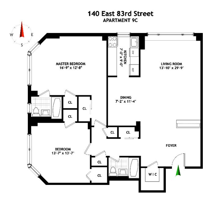 140 East 83rd Street, Upper East Side, NYC, $1,231,900, Web #: 14678030