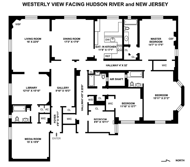 190 Riverside Drive, Upper West Side, NYC, $7,500,000, Web #: 1547938