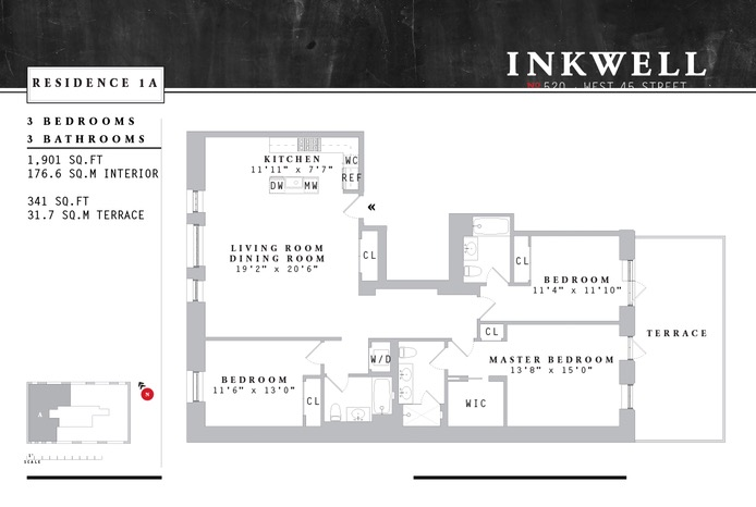 520 West 45th Street 1A, Midtown West, NYC, $2,800,000, Web #: 15666075