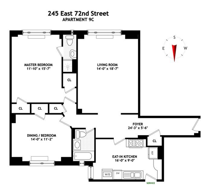 245 East 72nd Street 9C, Upper East Side, NYC, $1,600,000, Web #: 15925171