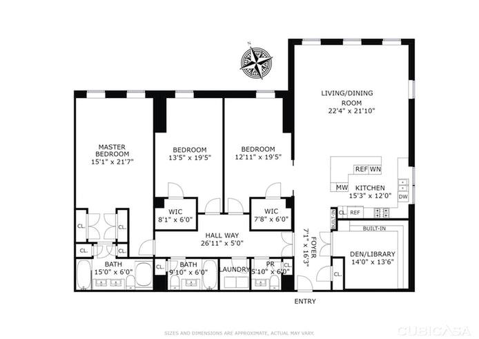38 Warren Street 5C, Tribeca, NYC, $4,750,000, Web #: 16054666