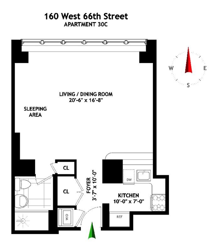 160 West 66th Street, Upper West Side, NYC, $975,000, Web #: 16085324