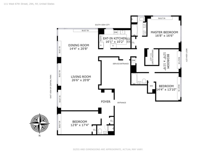 111 West 67th Street 29A, Upper West Side, NYC, $8,780,000, Web #: 16146030