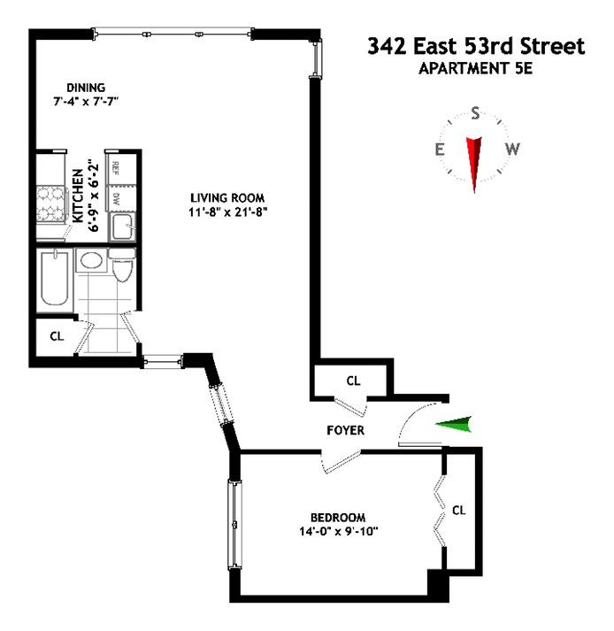 342 East 53rd Street, Midtown East, NYC, $525,000, Web #: 16279245