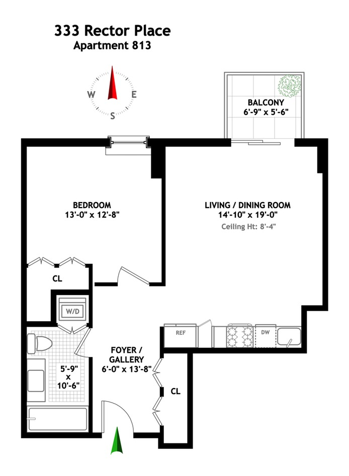 333 Rector Place 813, Battery Park City, NYC, $950,000, Web #: 16309650