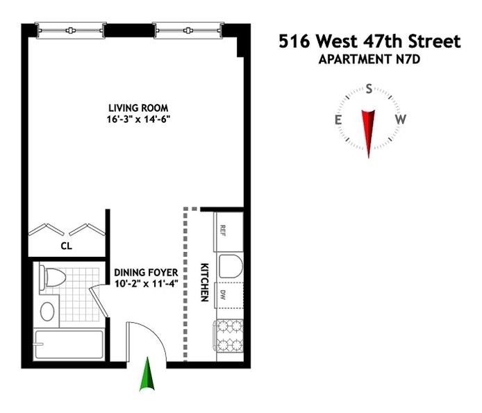 516 West 47th Street, Midtown West, NYC, $610,000, Web #: 16818119