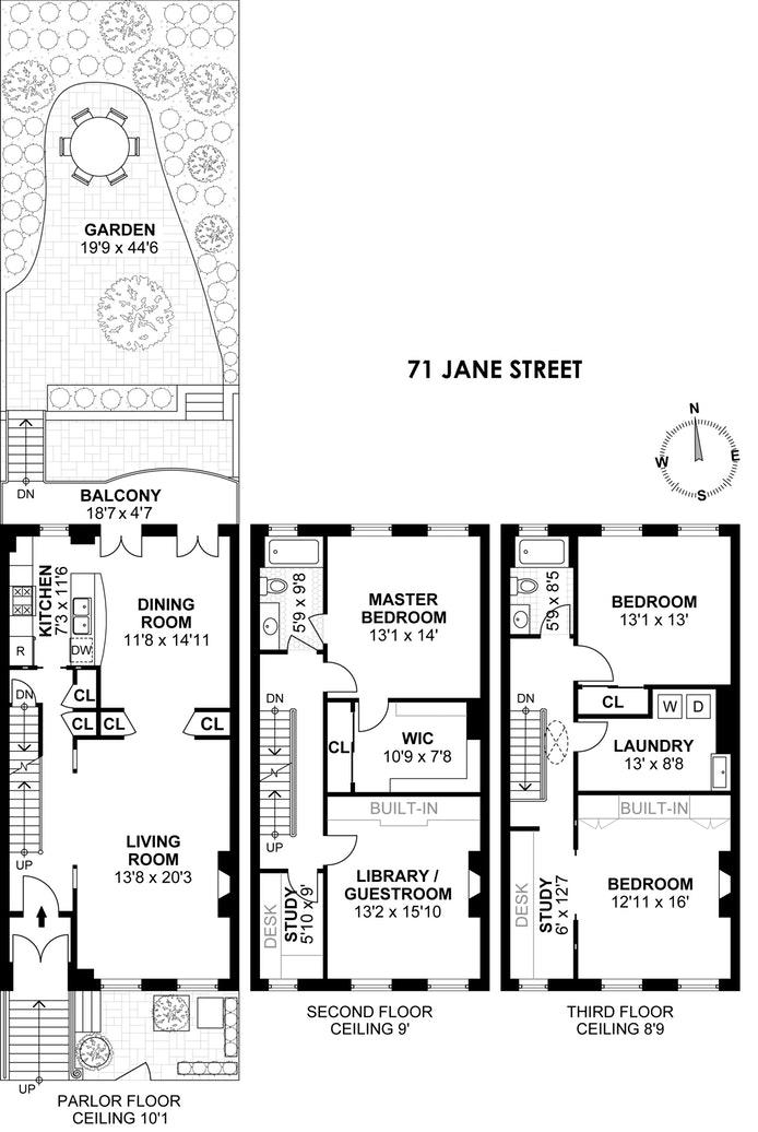 71 Jane Street Triplex, West Village, NYC, $18,000, Web #: 17008019