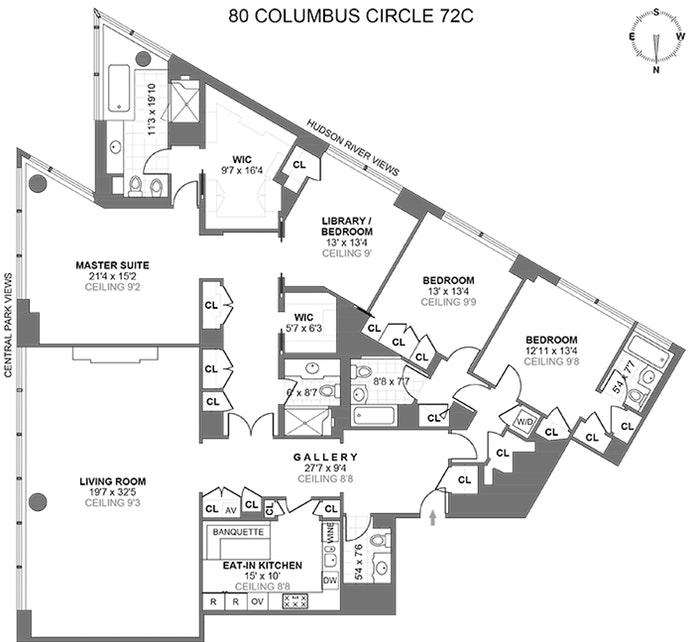 80 Columbus Circle 72C, Midtown West, NYC, $16,600,000, Web #: 17032172