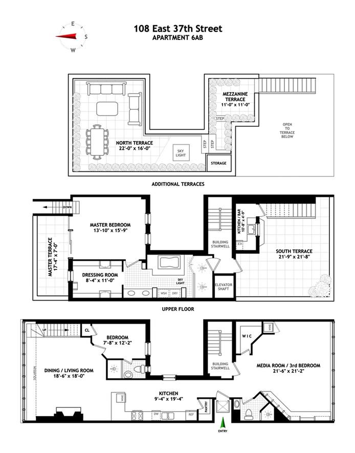 108 East 37th Street Ph, Midtown East, NYC, $2,600,000, Web #: 17251881