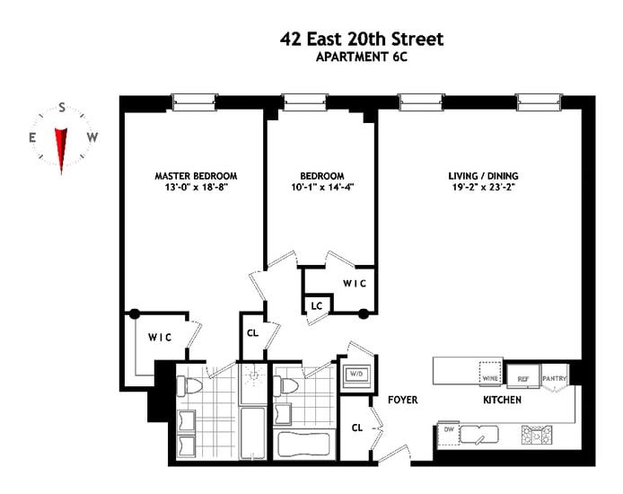 42 East 20th Street 6C, East Village, NYC, $2,450,000, Web #: 17397369