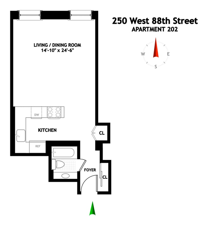 250 West 88th Street 202, Upper West Side, NYC, $599,000, Web #: 17419327