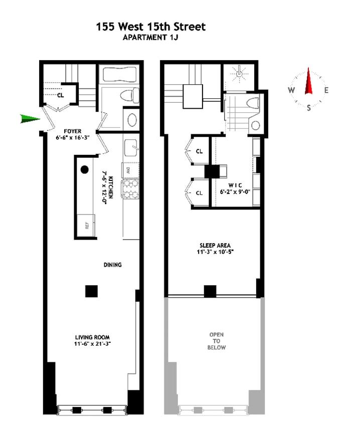 155 West 15th Street 1J, Greenwich Village/Chelsea, NYC, $955,000, Web #: 17439309