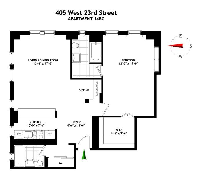 405 West 23rd Street 14B C, Chelsea, NYC, $1,385,000, Web #: 17440463