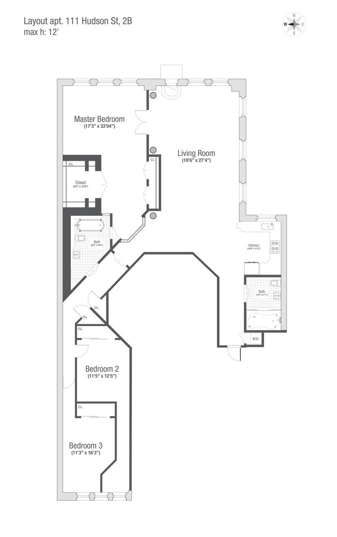 111 Hudson Street 2B, Tribeca/SOHO/Chinatown, NYC, $11,000, Web #: 17448101