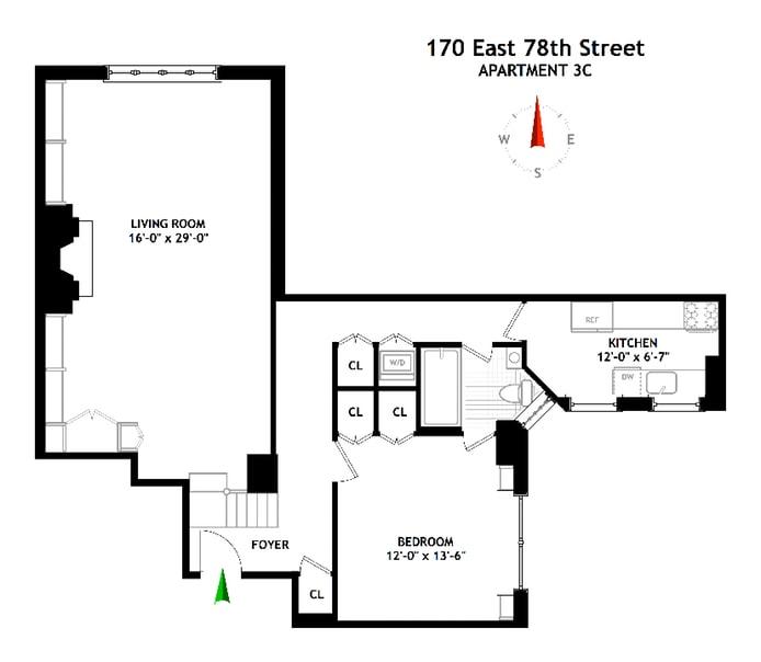 170 East 78th Street 3C, Upper East Side, NYC, $999,000, Web #: 17468776