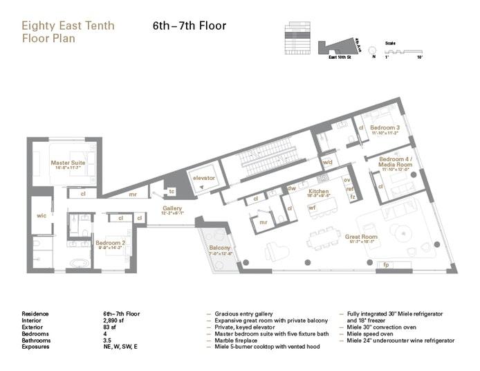 80 East 10th Street 6, Greenwich Village, NYC, $7,850,000, Web #: 17471379