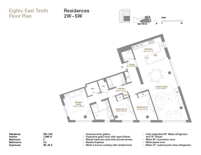 80 East 10th Street 5W, Greenwich Village, NYC, $4,400,000, Web #: 17487486