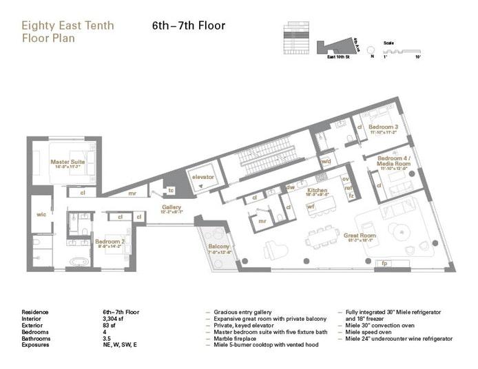 80 East 10th Street 7, Greenwich Village, NYC, $7,950,000, Web #: 17487494