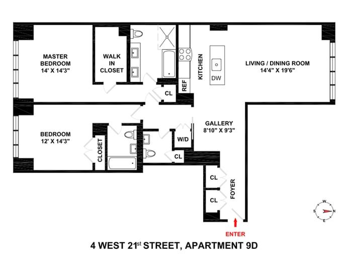 4 West 21st Street 9D, Flatiron, NYC, $1,875,000, Web #: 17521198