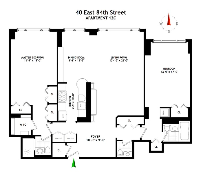 40 East 84th Street 12C, Upper East Side, NYC, $2,099,000, Web #: 17589712