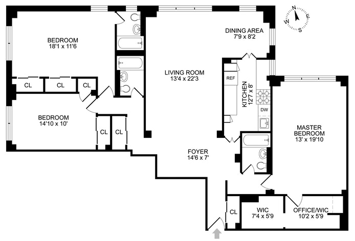 140 East 56th Street 10F, Midtown East, NYC, $1,685,000, Web #: 17777418