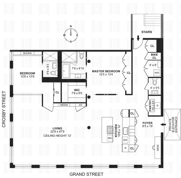 138 Grand Street 3Wf, Tribeca/SOHO/Chinatown, NYC, $3,000,000, Web #: 17787403