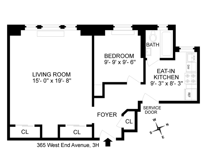 365 West End Avenue 3H, Upper West Side, NYC, $2,900, Web #: 17816492