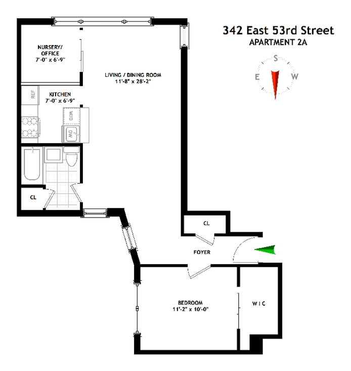 342 East 53rd Street 2A, Midtown East, NYC, $665,000, Web #: 17844428