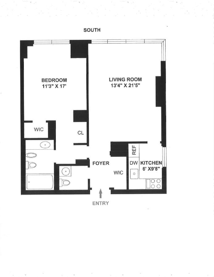 146 West 57th Street 57F, Midtown West, NYC, $4,300, Web #: 17935968
