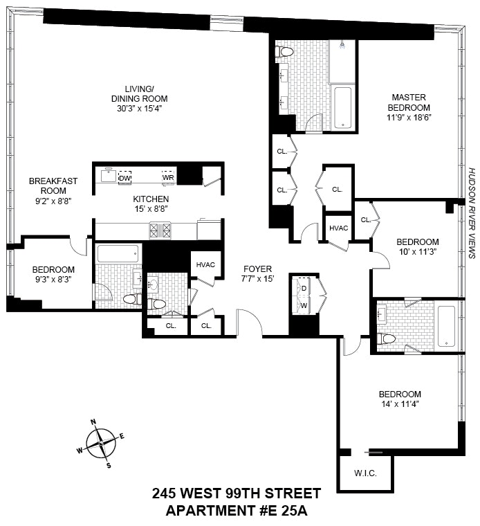 245 West 99th Street 25A, Upper West Side, NYC, $4,650,000, Web #: 17941714
