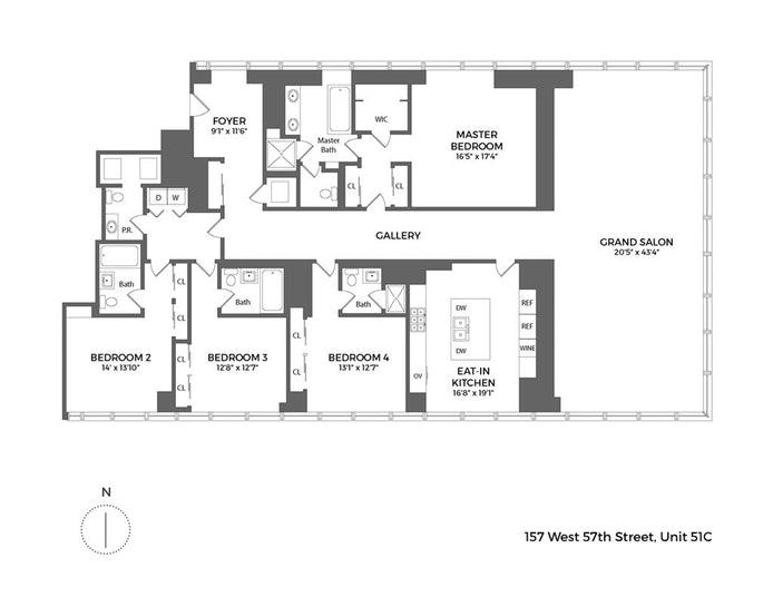 157 West 57th Street 51C, Midtown West, NYC, $21,995,000, Web #: 18034415
