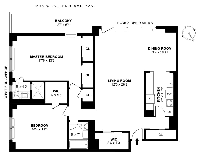205 West End Avenue 22N, Upper West Side, NYC, $1,535,000, Web #: 18088255
