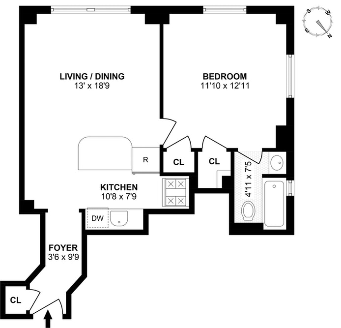 440 West 34th Street 13E, Midtown West, NYC, $3,000, Web #: 18100825