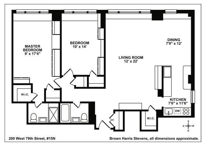 200 West 79th Street 15N, Upper West Side, NYC, $1,895,000, Web #: 18190799