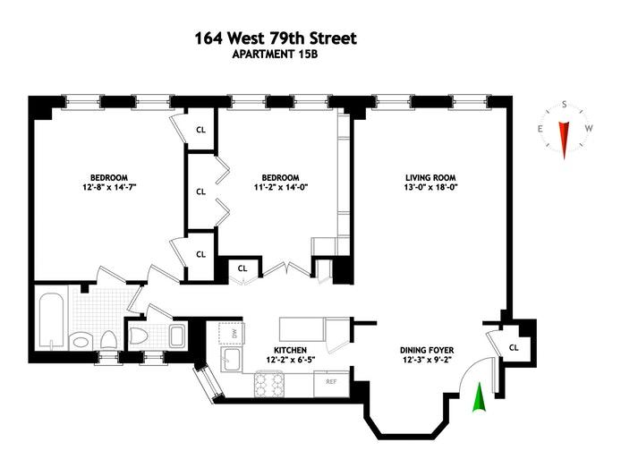 164 West 79th Street 15B, Upper West Side, NYC, $1,500,000, Web #: 18223089