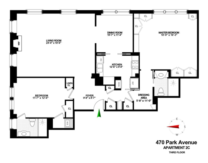 470 Park Avenue 2C, Midtown East, NYC, $2,850,000, Web #: 18278995