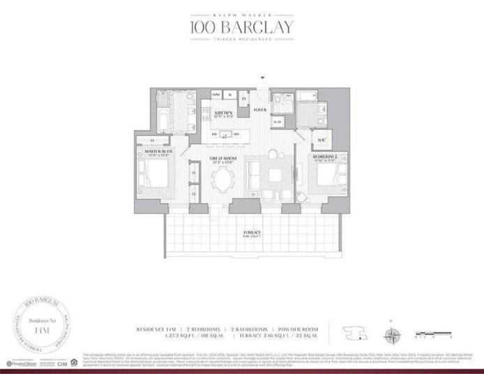 100 Barclay Street 14M, Tribeca, NYC, $10,500, Web #: 18283161