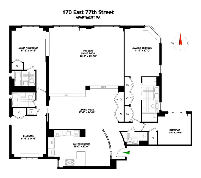 170 East 77th Street 9A, Upper East Side, NYC, $4,450,000, Web #: 18327555